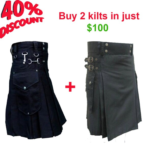 Buy 2 utiltiy kilts in just 100 USD, mens kilts deal, mens utility kilts discount, etsy deals for mens, black utility kilts, utility kilts