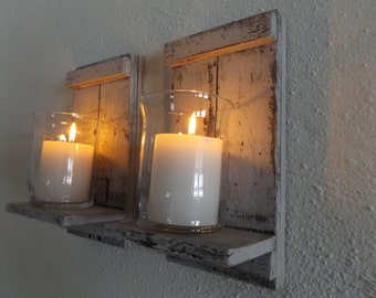 Wood Candle Sconce. White Candle Sconce. Candle Wall Sconce. Rustic Wall  Sconce.