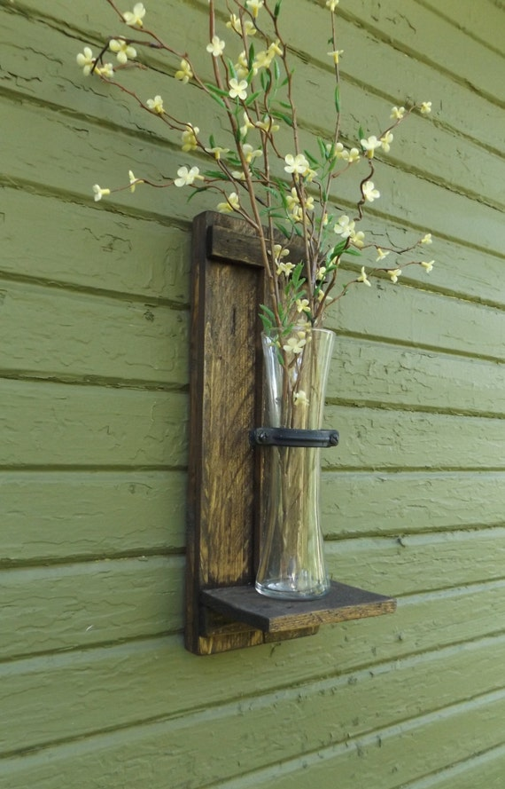 Rustic Wall Sconce Wood Wall Sconce Wall Vase Sconce Vase Etsy