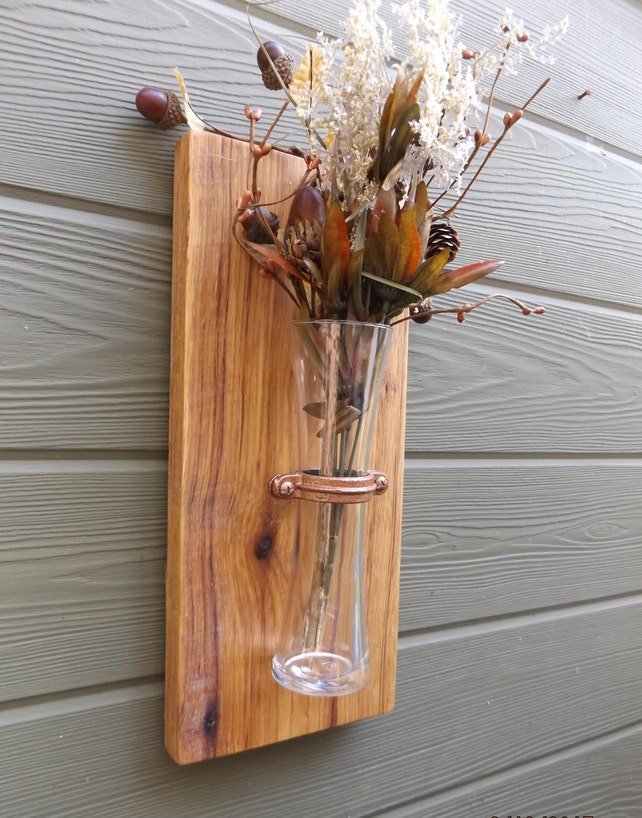 Wood Wall Sconce Rustic Wall Sconce Wall Vase Sconce Vase Etsy
