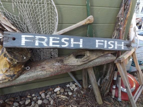 Lake Sign Fresh Fish Sign Rustic Fishing Sign Rustic Camp Sign Cabin Decor Rustic Cabin Sign Vintage Inspired Sign Lake Cottage Decor