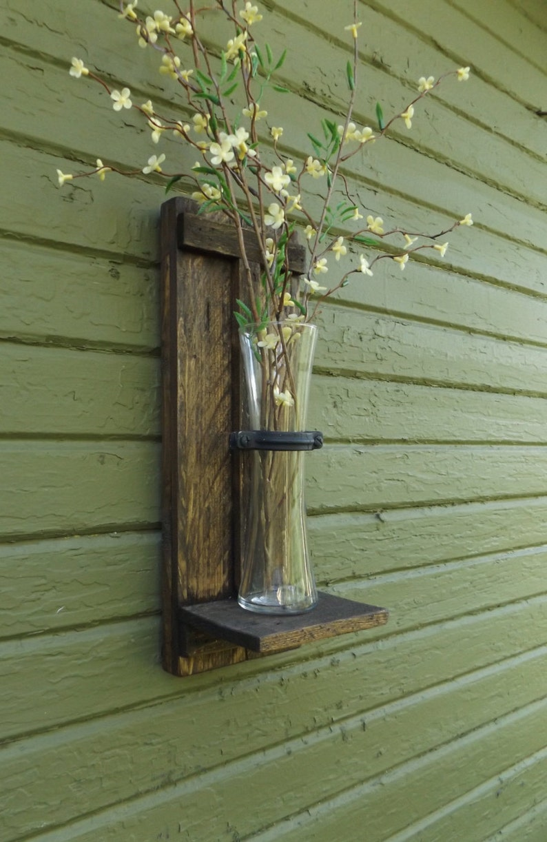 Wood Wall Sconce Rustic Wood Wall Sconce Wall Flower Vase Etsy