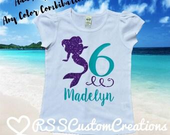 Mermaid Birthday Shirt, Girls Mermaid Birthday, Little Mermaid Birthday, Sixth Birthday Mermaid Shirt, Under the Sea Birthday Shirt, Mermaid