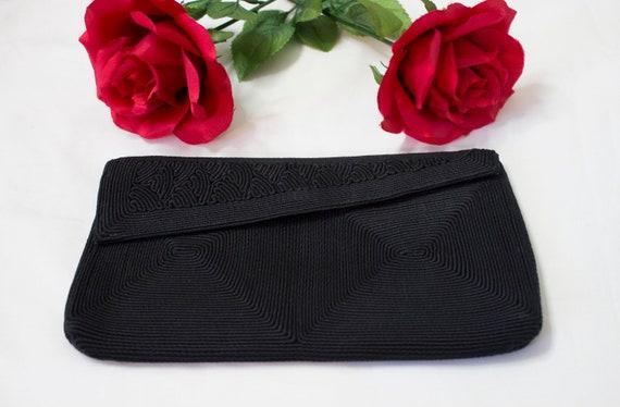 1950s Black Corde clutch purse