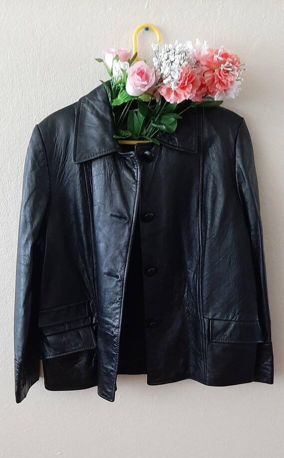 1980s black vintage vegan leather coat