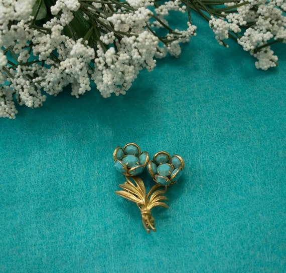 1950s Turquoise Blue Floral Brooch