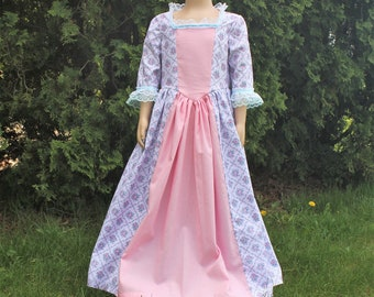 Girl's Colonial Dress Old-Fashioned Frock Felicity American History 1800s Clothing ~ Made to Order