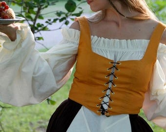 Renaissance costume, Pirate Shirt, Wench costume, Barmaid Outfit, Medieval Undergarments, Cotton Blouse, Made to Order Size Color Choice