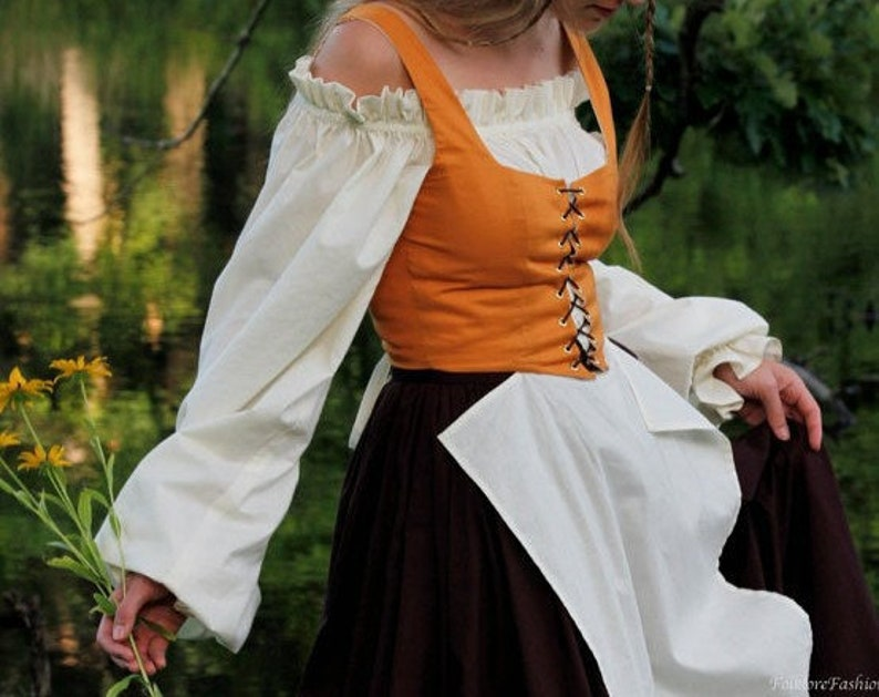 Custom Renaissance Bodice or Dirndl with Lace up Front with Canvas Lining ~  Cade