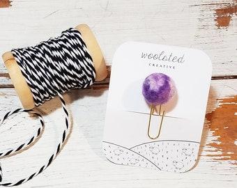 Marbled felted wool pom / Purple Swirl