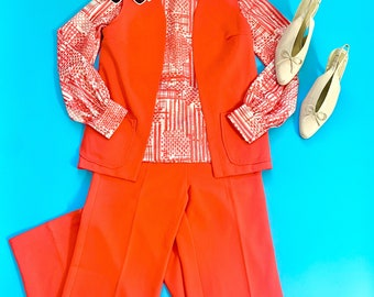 Military style blazer and pant set size S Late 70s structured military style suit with peg leg pants and orange and white striped detailing