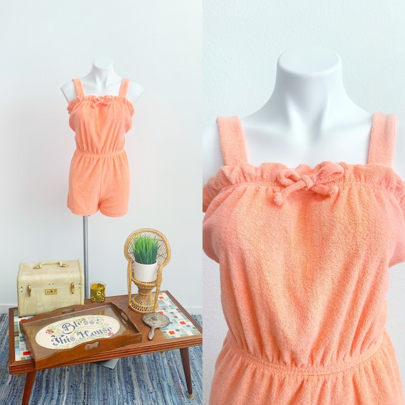 1970s Vintage Peach Terrycloth Romper with Bow | 7
