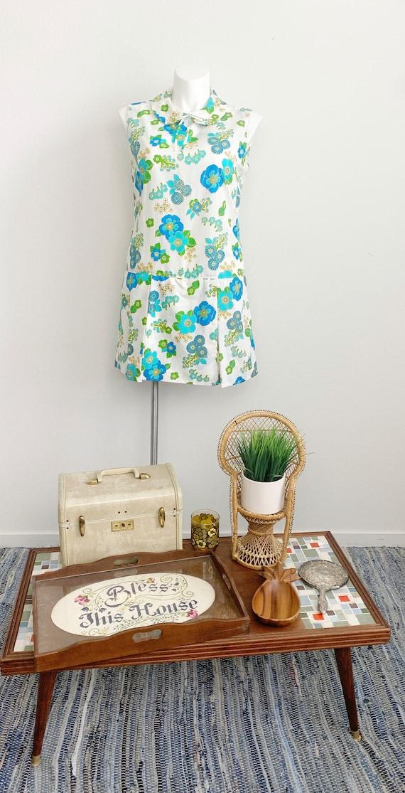 1960s Plus Size Sleeveless Floral Romper // 60s v… - image 3