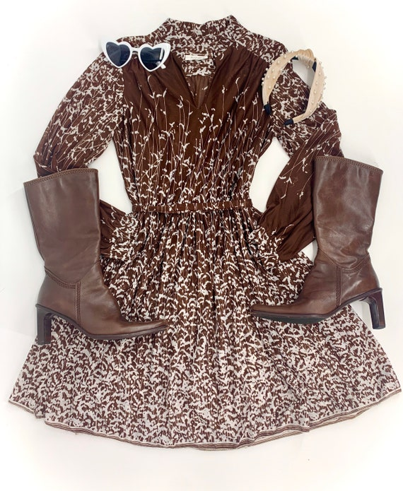 1970s Floral Chocolate Brown Day Dress | 70s Long