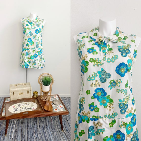 1960s Plus Size Sleeveless Floral Romper // 60s v… - image 1