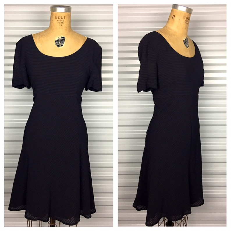1990s Vintage Grunge Black Plus Size Baby Doll Skater Dress 90s Retro Volup  Textured Empire Waist Mini Dress