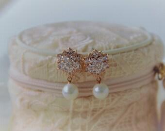 Rose Gold Bridal Earrings, Pearl Earrings, Crystal Wedding Earrings, Wedding Earrings, Bridal Jewelry