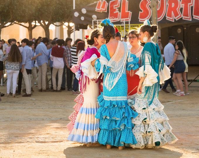 SENORITA GOSSIP. Spanish Print, Jerez Festival, Flamenco Dresses,Andalucia Picture, Photographic Print, Limited Edition.