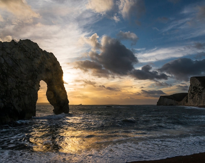 DURDLE DOOR SUNSET. Jurassic Coast, Dorset print, Seascape, Sunset, Durdle Door, Photographic print, Beach print.