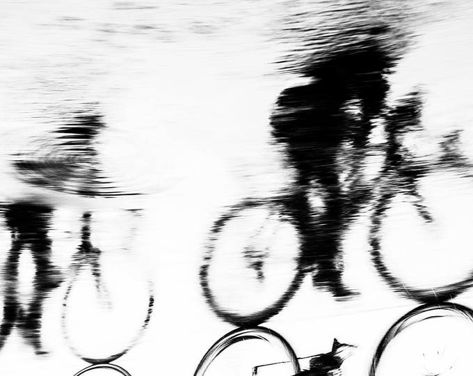 REFLECTED CYCLISTS. cycling print,fineart,limited edition,photographic print,black and white,sport,silhouette,Award Winning