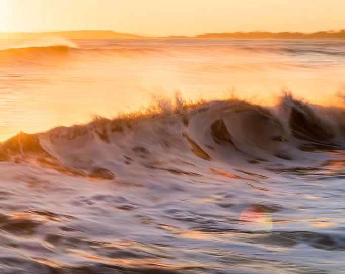 FIREWATER, Wave photography, Seascape Prints, Breaking Waves, Coastal Art, Sunset At Sea, Limited Edition Print