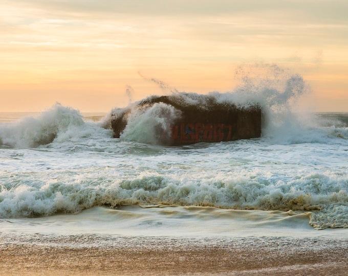 Seascape Print, Breaking Waves, Sunset Print, Rocks Sea and Sky, Coastal Art