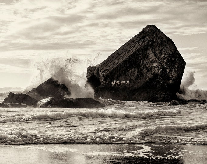 Seascape Print, Beach Wall Art, Black and White Print, Coastal Art, Monochrome Print, Sea and Rocks Print