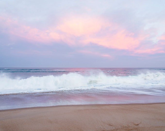 LILAC SUNRISE, Seascape Print, Beach Print, Breaking Waves, Hossegor Beach Print, Limited Edition Print, Large Print