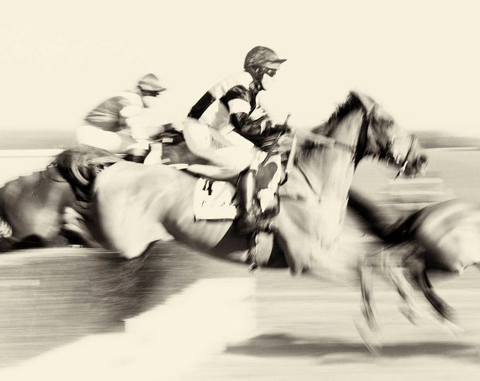 "Horse Racing Prints, ""Day At The Races"", Horse Prints, Equine Prints, Black and White Prints, Horse Jumping Art, Animal Prints."