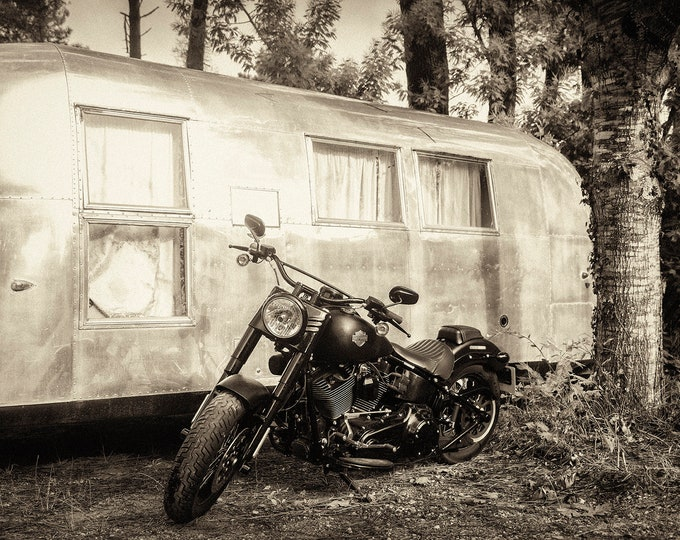 HARLEY AND AIRSTREAM, Motorbike Print, Airstream Trailer, American Classics, Still Life Print, Black and White Prints, Monochrome Print