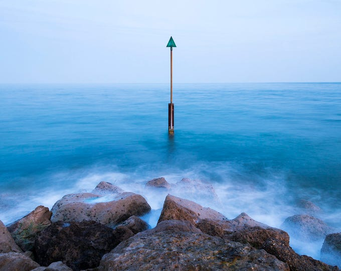 GREEN ARROW. Seascape Print, Rocks and Sea, Coastal Print, Blue Sea, Beach Picture, Sandbanks Poole, Photographic Print