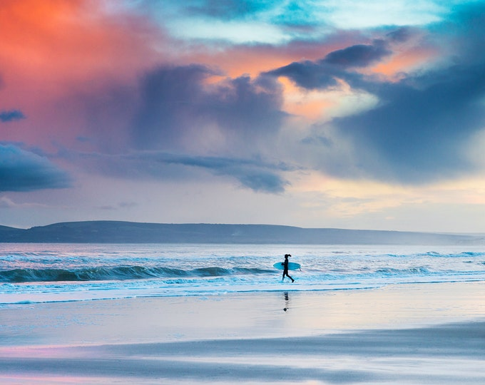 surfing prints, surfing pictures, seascape prints, Dorset prints, sunset, limited edition print, photographic print
