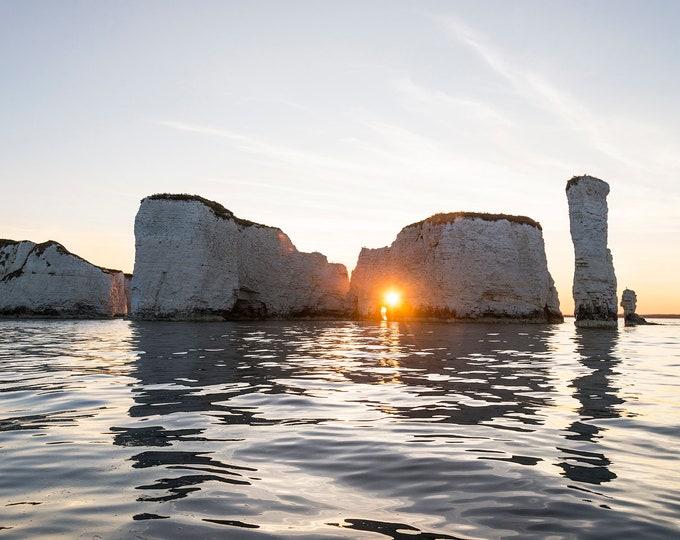 Old Harry Rocks, Dorset Prints, Seascape Print, Dorset Coastline, Sunset Print, Jurassic Coastline