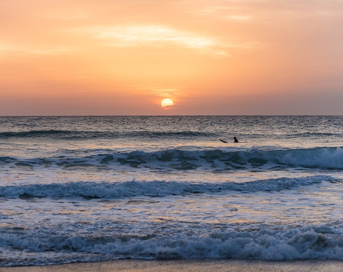 SOLITUDE AT SUNSET 2. Surfing Print, Sunset Picture, Spanish Sunset, Photographic Print,C Type Print