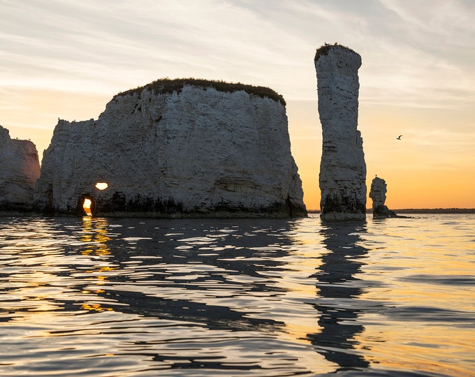 Old Harry Rocks 2, Dorset Prints, Seascape Print, Dorset Coastline, Sunset Print, Jurassic Coastline