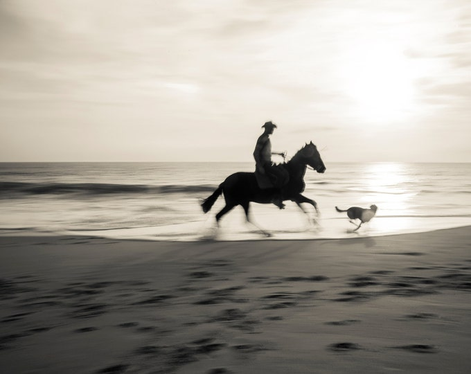 HORSE RIDING On Beach Print, Horse Wall Art