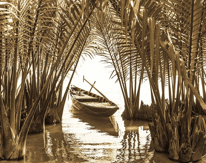 BOAT AMONGST PALMS. Vietnam Print, Boat Picture, Sepia Toned Print, Hoi An Picture, Limited Edition, Photographic Print