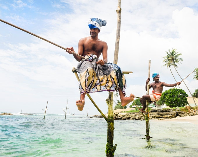 STILT FISHERMEN.Travel Photography, Sri Lanka Print, Photographic Print, Limited Edition print