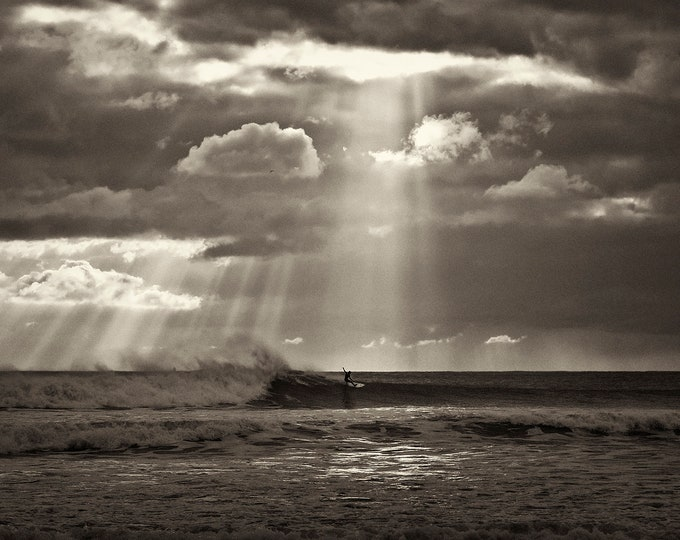 RUSH 2, Surfing Print, Black and White Prints, Dramatic Seascape, Kimmeridge Bay, Sea and Sky, Limited Edition Print, Sports Print