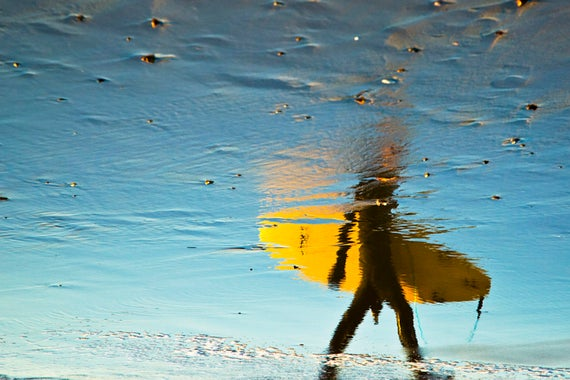 YELLOW SURFER. Surfing Print, Abstract Picture, Beach Print, Reflection Art, Photographic Print, Dorset Prints.