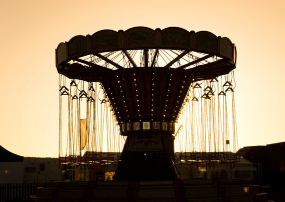 THE SILENT CAROUSEL. Silhouette, Carousel Print, Still Life, Dorset Art, Fairground Picture, Photographic Print.