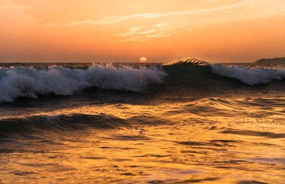 TARIFA GOLD. Sunset At Sea, Tarifa Print, Seascape, Photographic Print, Spain, Sunset Picture