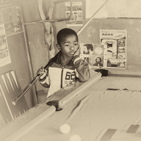 POOL THOUGHTS. Sepia Tone Print, African Boy, Square Print, Limited Edition, Travel Photography