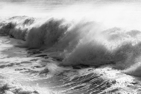 AVALANCHE, Breaking Waves, Wave Photography, Seascape Print, Black and White Print, Large wall Art