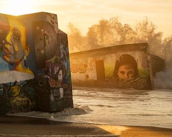 Graffiti Art Print, Beach Print, Breaking waves, Seashore Print, Travel Photography, Seascape Print, Limited Edition Print
