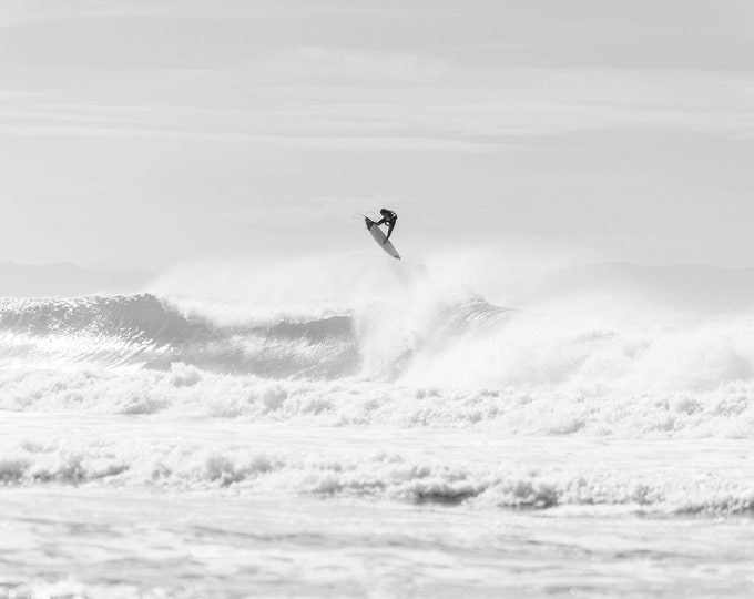 FLYING, Surfing Print, Black and White Print, Breaking Waves, Monochrome Print, Sports Photography, Large Wall Print, Hossegor Print