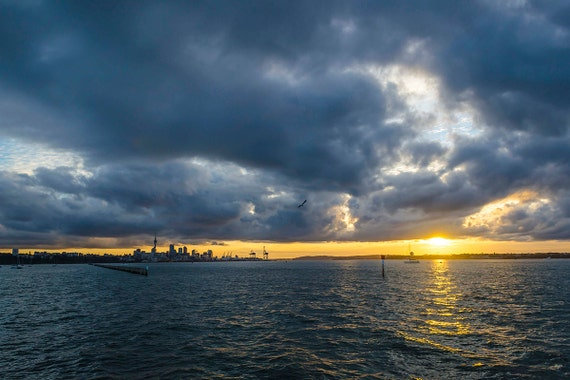 AUCKLAND HARBOUR SUNSET. Seascape Print, Sunset Picture, Travel Photography, Limited Edition Print, New Zealand Picture, Photographic Print