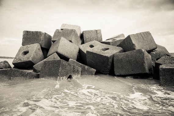 ROCKS. Black And White Print, Monochrome Print, Rocks On Beach, Spain, Photographic Print
