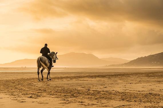 "Horse Prints,""The Lone Horseman"", Tarifa Beach Print, Equestrian Wall Prints, Equine Art Prints"