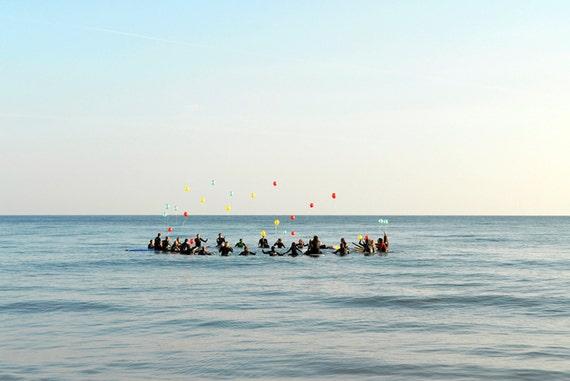 SURFER'S CELEBRATION. Surfing Print, Sea picture, Surf Print, Celebration picture, Bournemouth Bay, Limited Edition Print